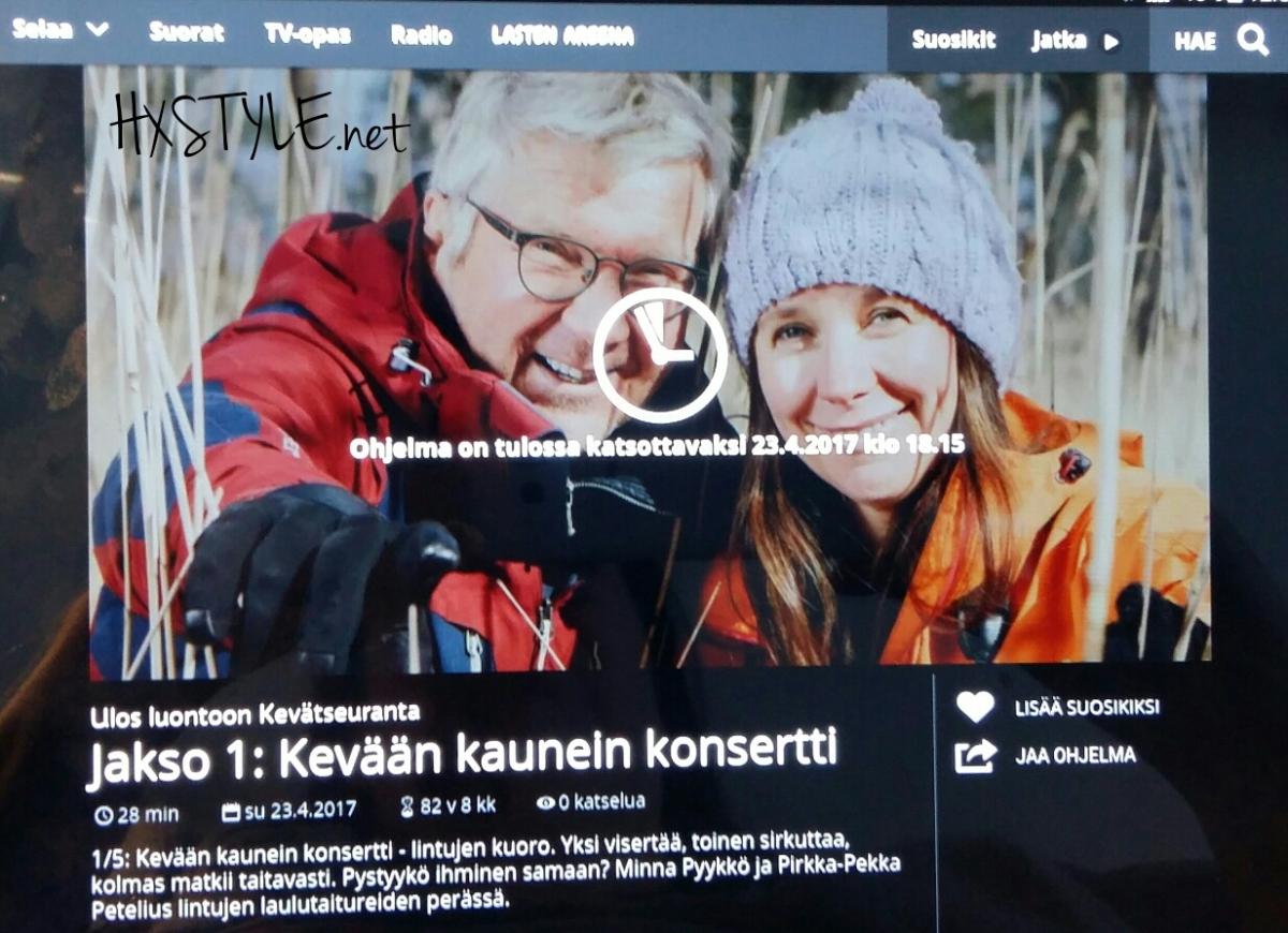 LUONTO. SUOMI. YLE TV1 Ohjelmasarja, KEVÄT SEURANTA. 1/5 Kevään kaunein Konsertti 25.4.2017