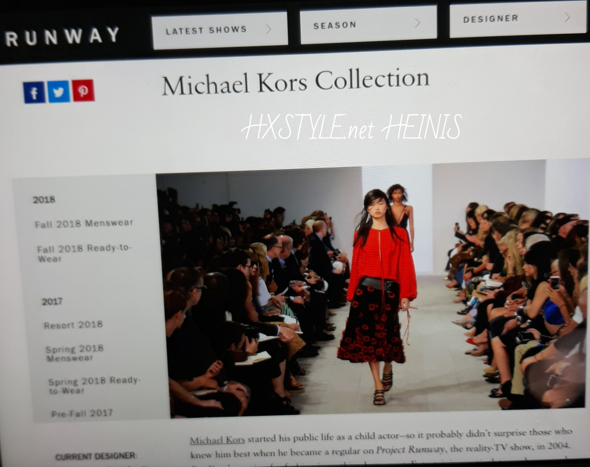 VOGUE NEWS&TRENS. WORLD FASHION DESIG&Designer MICHAEL KORS, MK. COLLECTION FALL&SPRING 2018, RUNWAY …19.2.2018. HXSTYLE.net HEINIS Favourite